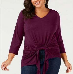 NEW NY COLLECTION SIZE 2X BURGUNDY TOP BLOUSE